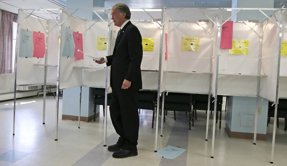 Democratic U.S. Senate hopeful, Mass. Rep. Edward Markey, D-Malden, carries his ballot while casting his vote in Malden, Mass., Tuesday, April 30, 2013. Markey and U.S. Rep. Stephen Lynch, D-Boston, vying for their party's nomination in the special April 30, 2013 primary. (AP Photo/Charles Krupa)