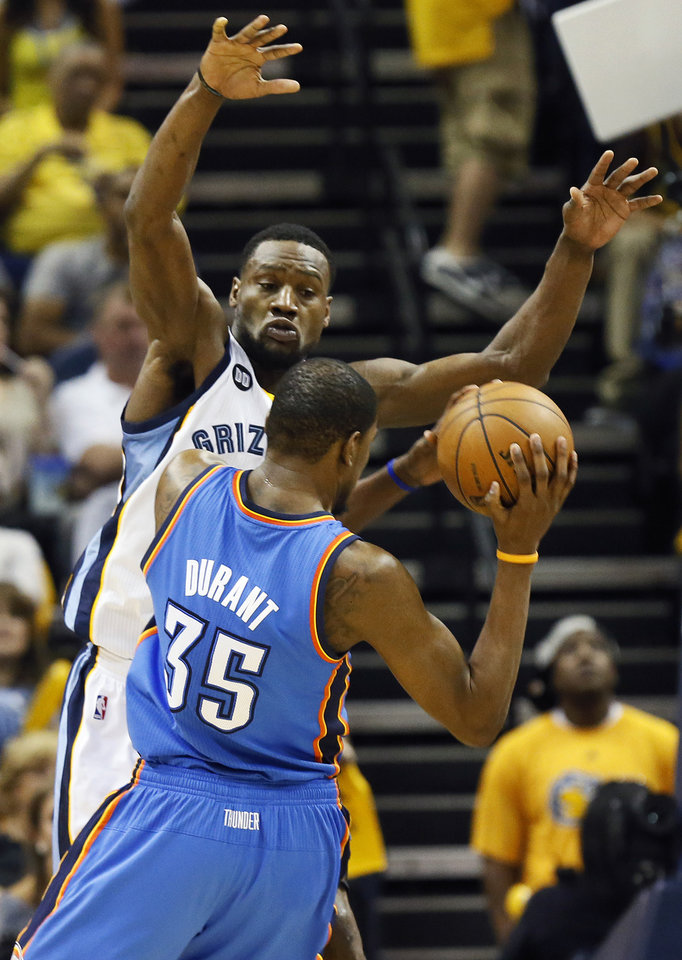 Photo - Memphis' Tony Allen (9) defends Oklahoma City's Kevin Durant (35) during Game 3 in the second round of the NBA basketball playoffs between the Oklahoma City Thunder and Memphis Grizzles at the FedExForum in Memphis, Tenn.,  Saturday, May 11, 2013. Memphis won, 87-81. Photo by Nate Billings, The Oklahoman