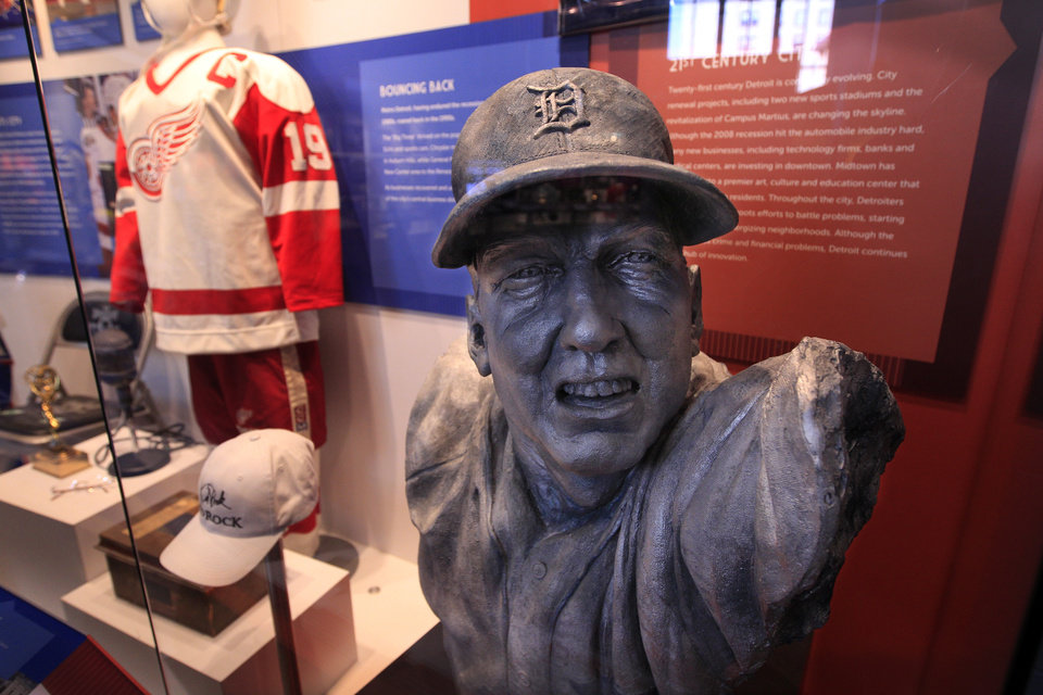 A bust of Al Kaline from 2000 is displayed at the Detroit Historical Museum in Detroit, Wednesday, Nov. 21, 2012. The museum is reopening six months after the venerable institution in the city�s cultural center closed up shop to undergo its first major renovation in a half-century. (AP Photo/Carlos Osorio)