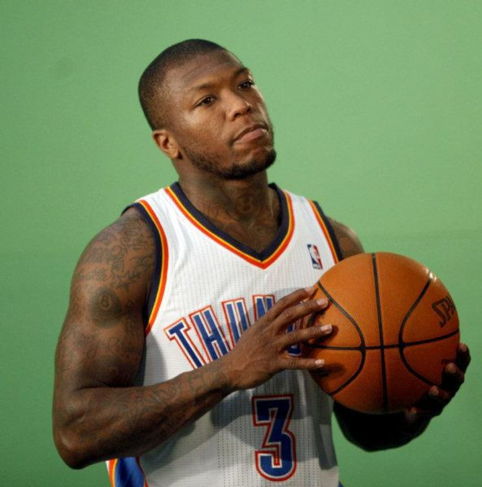 Oklahoma City's Nate Robinson films video segments at the the Thunder practice facility, Saturday, Feb, 26, 2011, in Oklahoma City. Photo by Sarah Phipps, The Oklahoman <strong>SARAH PHIPPS</strong>