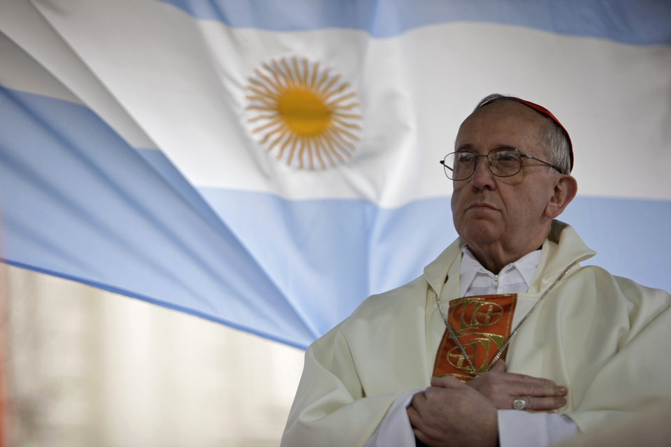 FILE - This Aug. 7, 2009 file photo shows Argentina's Cardinal Jorge Bergoglio giving a mass outside the San Cayetano church in Buenos Aires. Bergoglio, who took the name of Pope Francis,  was elected on Wednesday, March 13, 2013 the 266th pontiff of the Roman Catholic Church.  (AP Photo/Natacha Pisarenko, files) ORG XMIT: XBL104