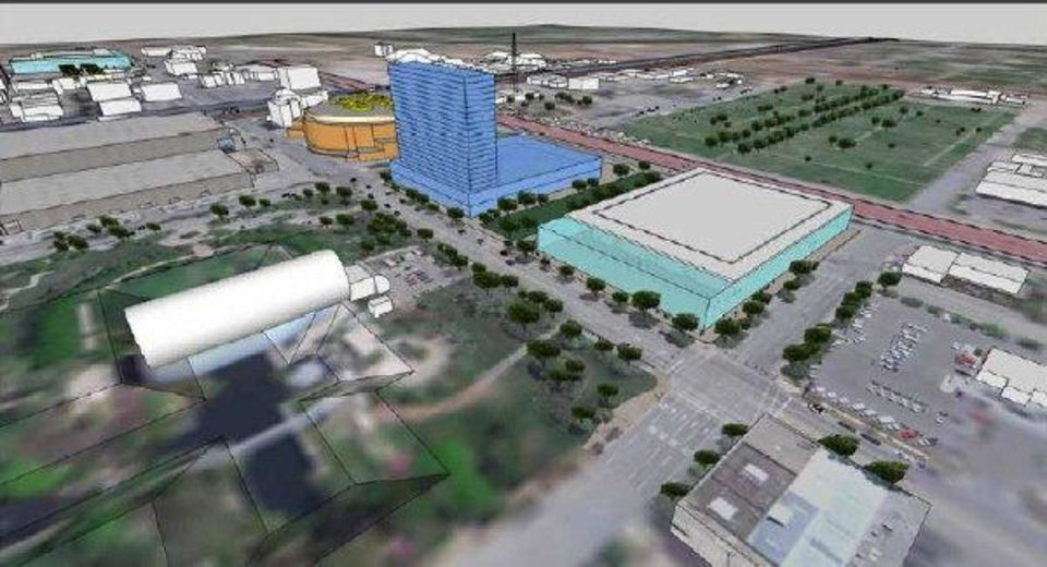 Photo - This rendering show the convention center candidate rated highest by consultant Populous and the committee tasked with overseeing the site selection. Populous proposes a site plan that would allow pedestrian access along a
