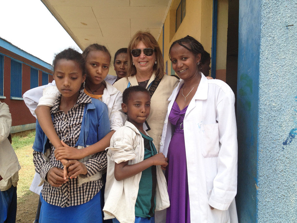 Photo - Edie Roodman, executive director of the Jewish Federation of Greater Oklahoma City, is pictured with a group of Ethiopian Jews who recently emigrated from Ethiopia to Israel.  Photo provided