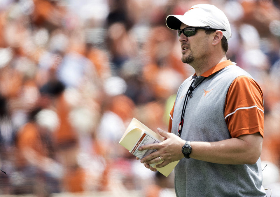 Photo -  Texas coach Tom Herman, left, and Oklahoma coach Lincoln Riley will be first-year head coaches at their respective schools in the Red River Showdown this fall. [AP PHOTO]