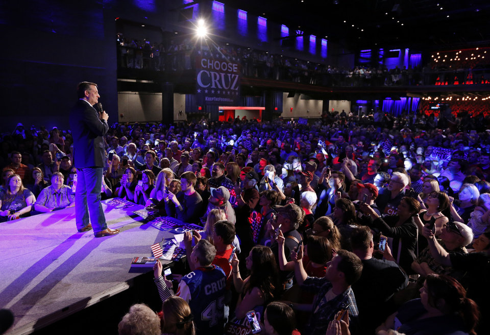 Photo - Republican presidential candidate Ted Cruz speaks at the Chevy Bricktown Event Center as part of the Oklahoma City Courageous Conservatives Rally on Sunday, Feb. 28, 2016 in Oklahoma City, Okla.  Photo by Steve Sisney, The Oklahoman