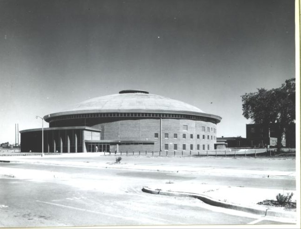 Photo -  FSB won wide acclaim in 1954 for the unusual design of the Capitol Hill High School gymnasium. The round building seated 5,600 spectators. [PHOTO PROVIDED BY FSB]