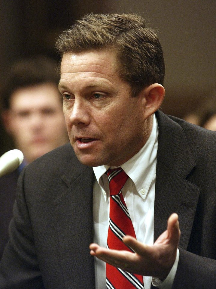 Photo - FILE - This Wednesday, Jan. 29, 2003 file photo shows Jeffrey Sutton, then President Bush's nominee for the U.S.Court of Appeals for the Sixth District, testifying on Capitol Hill. Judge Sutton is on a three-judge panel of the 6th U.S. Circuit Court of Appeals in Cincinnati that will hear marriage equality arguments from attorneys in six cases from Ohio, Michigan, Kentucky and Tennessee, all on Wednesday. (AP Photo/Evan Vucci, File)