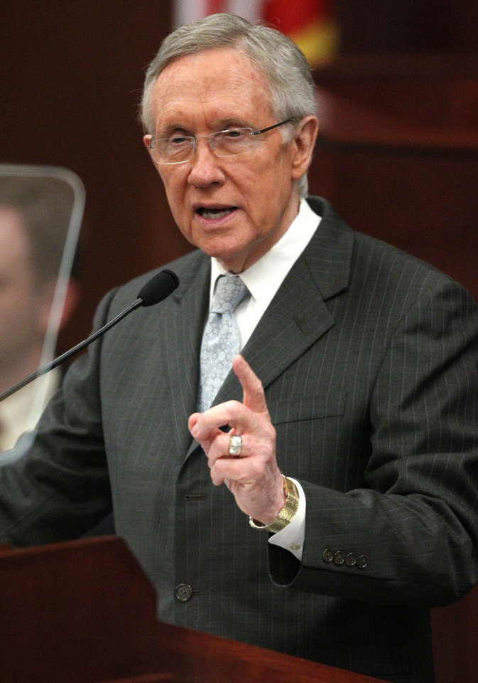 U.S. Senate Majority Leader Harry Reid addresses a joint session of the Nevada Legislature, in Carson City, Nev., on Wednesday, Feb. 20, 2013. (AP Photo/Cathleen Allison)
