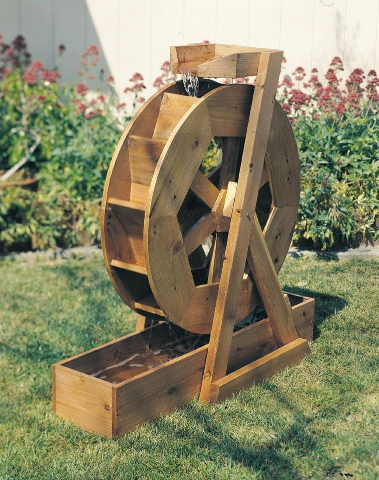 Enjoy the tranquility of water with this handmade water wheel. Photo provided
