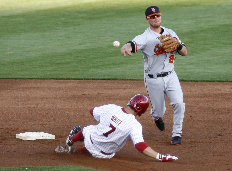 Oklahoma State's Randy McCurry throws to first base as Oklahoma's Max White slides into second base during a college baseball game Friday, May 10, 2013, in Tulsa, Okla. (AP Photo/Tulsa World, Matt Barnard) ORG XMIT: OKTUL304