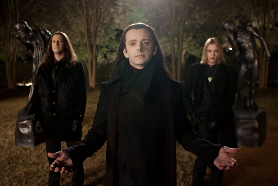 "Christopher Heyerdahl, left, Michael Sheen, center, and Jamie Campbell Bower are in a scene from ""The Twilight Saga: Breaking Dawn Part 2."" AP PHOTO"