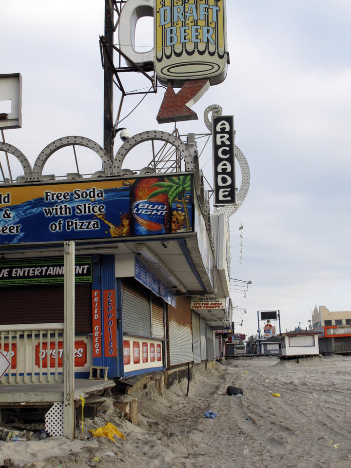This Jan. 4, 2013 photo shows where the boardwalk in Seaside Heights, N.J. used to be before Superstorm Sandy moved through the area. The iconic boardwalk where generations of families and teens got their first taste of the Jersey Shore and where the reality show of the same name was filmed is being rebuilt following its destruction in Superstorm Sandy. Seaside Heights on Wednesday, Jan. 16, 2013 awarded a $3.6 million contract to have the boardwalk rebuilt in time for Memorial Day weekend. (AP Photo/Wayne Parry)