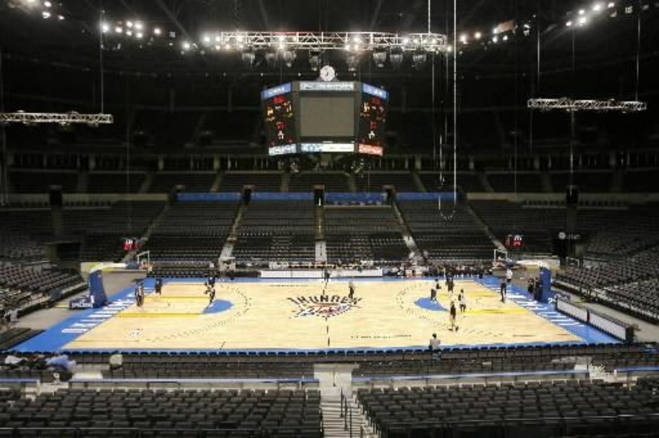 Oct. 28, 2008 file photo:  The OKC Thunder practices at the Ford Center in Oklahoma City, OK, BY PAUL HELLSTERN,