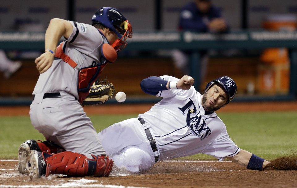 Photo -   Tampa Bay Rays' Luke Scott, right, scores as Boston Red Sox catcher Ryan Lavarnway can't hang onto the ball on a fifth inning squeeze by Rays' Ryan Roberts off Red Sox pitcher Aaron Cook during a baseball game, Monday, Sept. 17, 2012, in St. Petersburg, Fla. (AP Photo/Chris O'Meara)