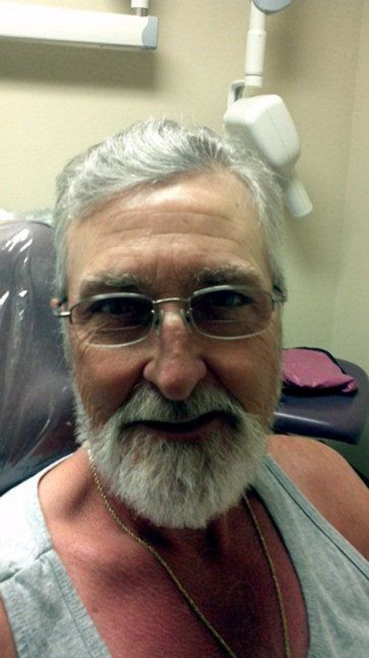 Photo - Roger Blakemore is a patient at Good Shepherd Community Clinic in Ardmore. He received new teeth and a haircut. Photo provided.