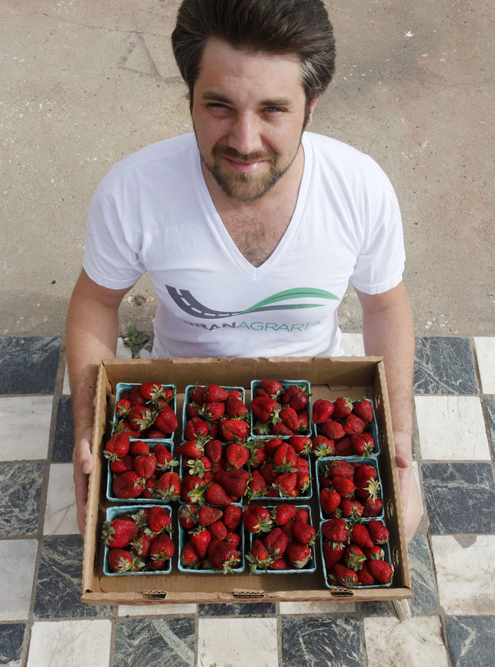 Photo - Matthew Burch, of the Urban Agrarian, with a flat of local strawberries.  DOUG HOKE - THE OKLAHOMAN