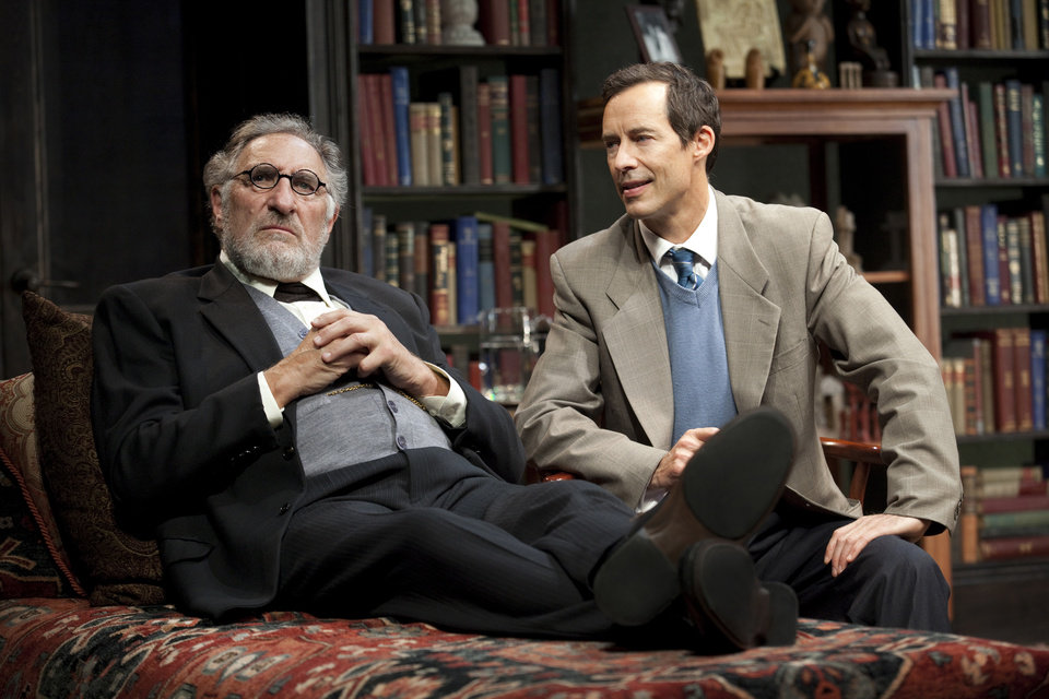 "This 2012 theater image released by Jim Randolph Media Relations shows Judd Hirsch as Sigmund Freud, left, and Tom Cavanagh as C. S. Lewis in Mark St. Germain's ""Freud's Last Session,"" performing at The Broad Stage in New York. (AP Photo/Jim Randolph Media Relations, Carol Rosegg)"