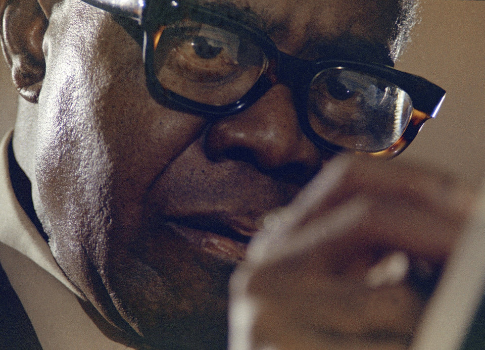 Photo -   FILE -- In a 1970 file photo Louis Armstrong is seen during a recording session in New York. A live recording of Louis Armstrong playing his trumpet for one of the last times is being played Friday April 27, 2012 at the National Press Club in Washington where it was created in January 1971. (AP Photo/Eddie Adams, file)