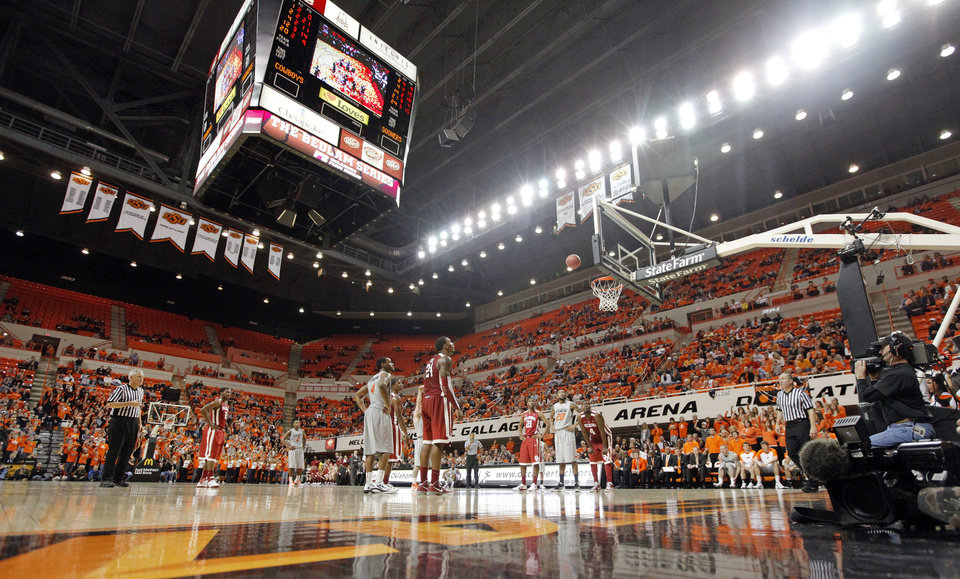 Photo - A view of the arena in the second half during the Bedlam men's college basketball game between the Oklahoma State University Cowboys and the University of Oklahoma Sooners at Gallagher-Iba Arena in Stillwater, Okla., Monday, Jan. 9, 2012. OSU beat OU, 72-65. Photo by Nate Billings, The Oklahoman
