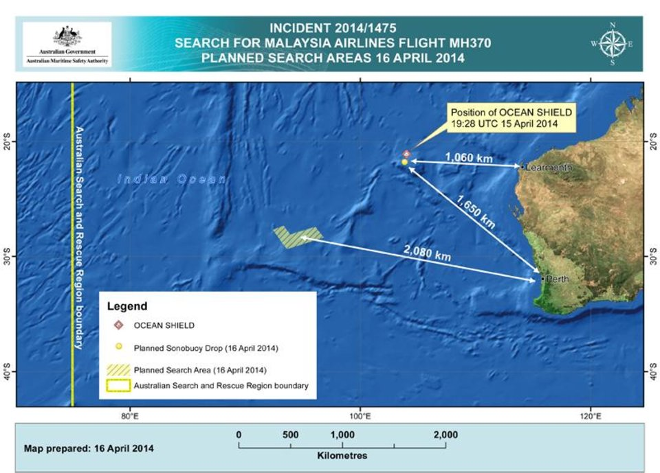 Photo - In this map provided on Wednesday, April 16, 2014, by the Joint Agency Coordination Centre, details are presented in the search for the missing Malaysia Airlines Flight 370 in the southern Indian Ocean. A robotic submarine looking for the lost Malaysian jet continued its second seabed search on Wednesday as up to 14 planes were to take to the skies for some of the final sweeps of the Indian Ocean for floating debris from the ill-fated airliner. (AP Photo/Joint Agency Coordination Centre) EDITORIAL USE ONLY