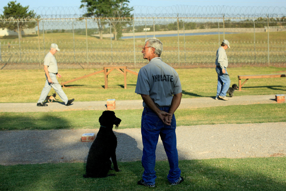 PRISON INMATES / DOGS: Bill Gassaway stands with a poodle at the Lexington Assessment and Reception Center, Friday, July 11,  2013, in Lexington, Okla. Photo by Sarah Phipps, The Oklahoman