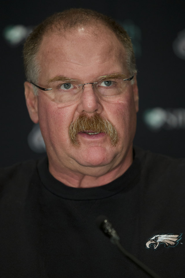 Philadelphia Eagles coach Andy Reid speaks with members of the media during a news conference at the team's NFL football training facility, Tuesday, Nov. 27, 2012, in Philadelphia. Philadelphia is now 3-8, has lost seven in a row and is in last place by its lonesome in the NFC East. (AP Photo/Matt Rourke)