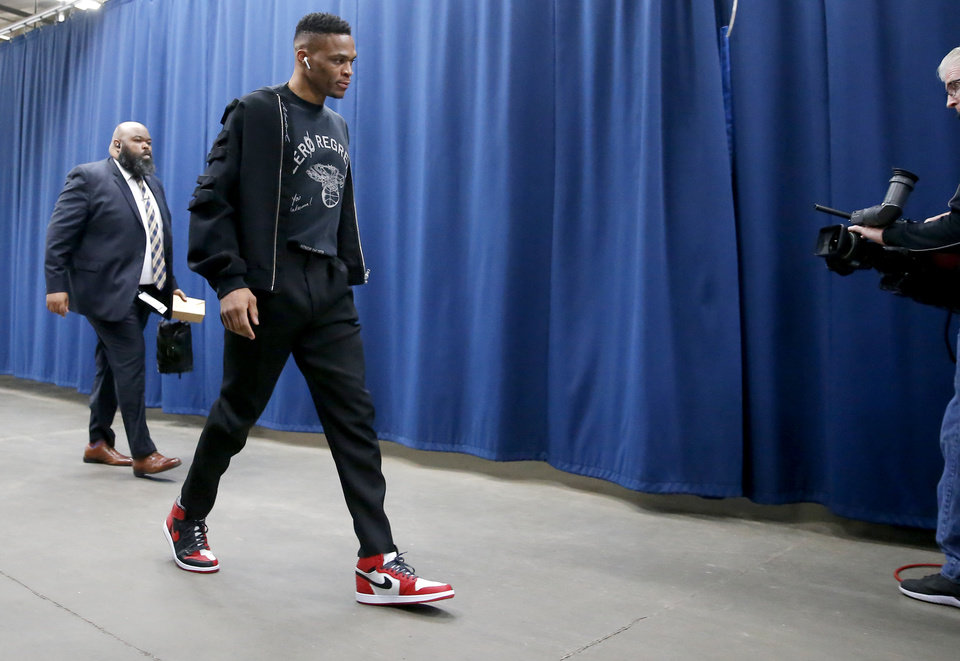 Photo - Russell Westbrook arrives before an NBA basketball game between the Oklahoma City Thunder and Houston Rockets at Chesapeake Energy Arena in Oklahoma City, Thursday, Jan. 9, 2020. [Bryan Terry/The Oklahoman]