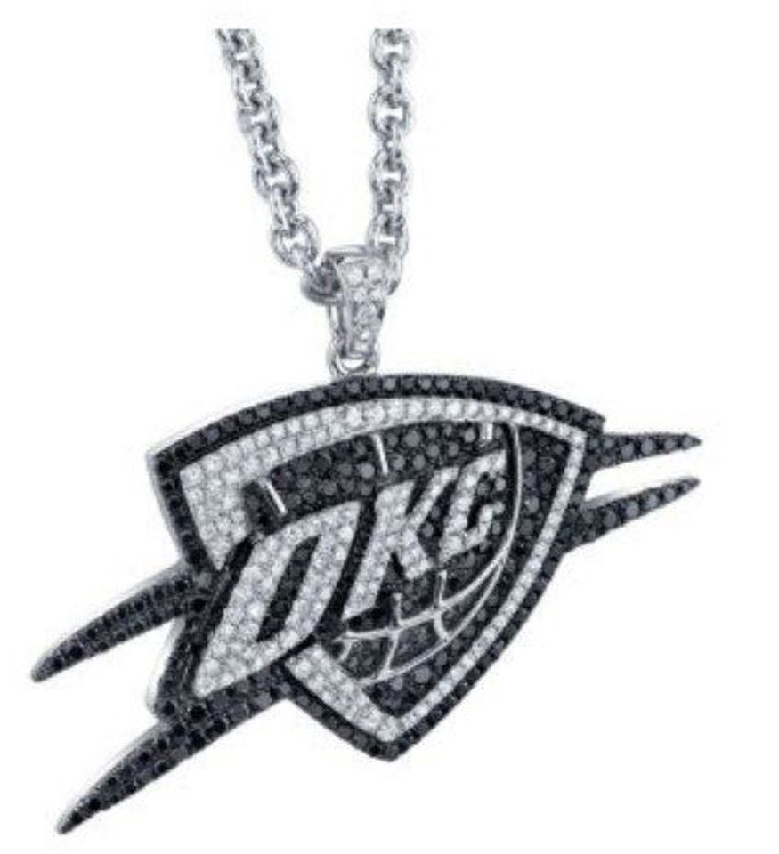 Photo - This black and white diamond pendant features 3.71 carats of diamonds. The setting is stamped with the NBA logo and each is numbered. Sells for $10,000 at Mitchener Farrand Jewelers.