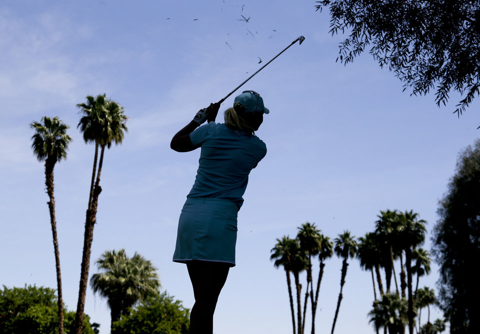 Anna Nordqvist, of Sweden, hits from the rough on the second hole during the second round of the LPGA Kraft Nabisco Championship golf tournament in Rancho Mirage, Calif. Friday, April 5, 2013. (AP Photo/Chris Carlson)
