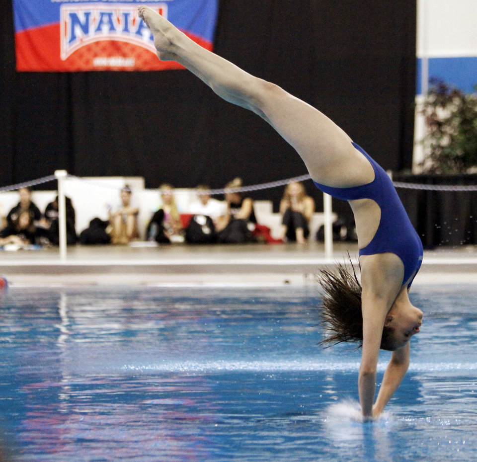 Victoria Svetgoff of Oklahoma Baptist University competes in women's 1 meter diving preliminaries during the NAIA Swimming and Diving National Championships at Oklahoma City Community College in Oklahoma City, Wednesday, Feb. 29, 2012. . Photo by Nate Billings, The Oklahoman