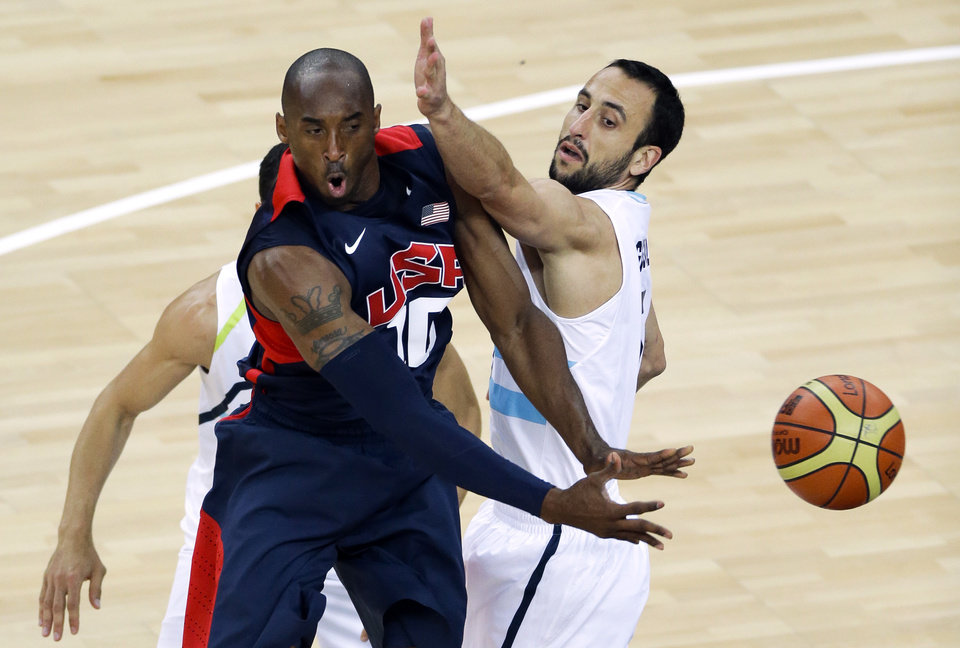 Photo -   United States' Kobe Bryant, is defended by Argentina's Manu Ginobili, right, during a men's basketball semifinal game at the 2012 Summer Olympics, Friday, Aug. 10, 2012, in London. (AP Photo/Victor R. Caivano)