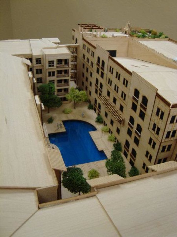 "This model of the ""Edge"" apartments shows one of two interior courtyards. <strong>Provided</strong>"