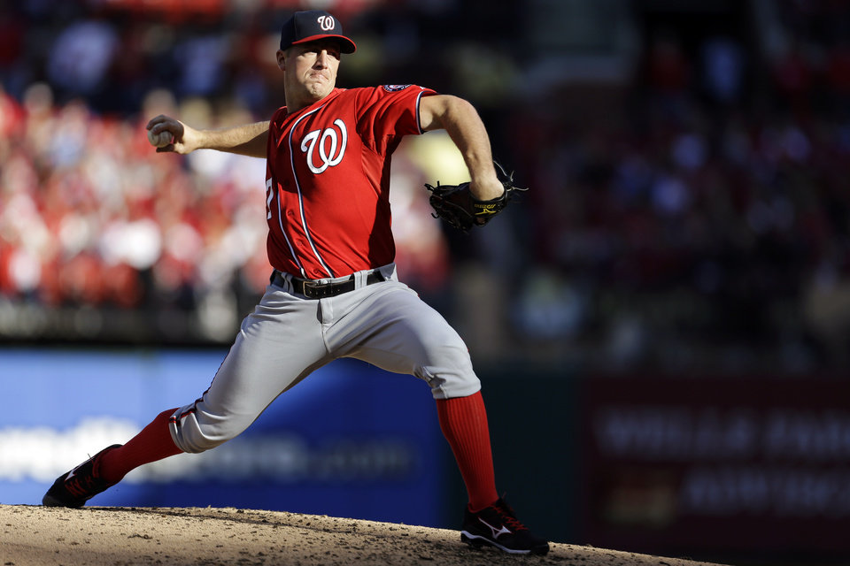 Washington Nationals starting pitcher Jordan Zimmermann throws during the second inning in Game 2 of baseball\'s National League division series against the St. Louis Cardinals, Monday, Oct. 8, 2012, in St. Louis. (AP Photo/Jeff Roberson)