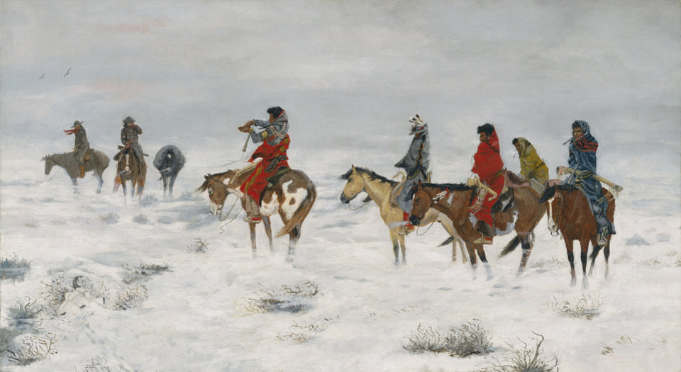 Photo -   This undated photo provided by the Amon Carter Museum of American Art, shows Charles M. Russell's, Lost in a Snowstorm. The painting will be included in an exhibit opening next year at the Dallas Museum of Art that will feature almost all of the works of art gathered from museums and prominent Fort Worth citizens for the hotel suite John F. Kennedy and first lady Jacqueline Kennedy stayed in the night before he was assassinated. (AP Photo/ Amon Carter Museum of American Art)