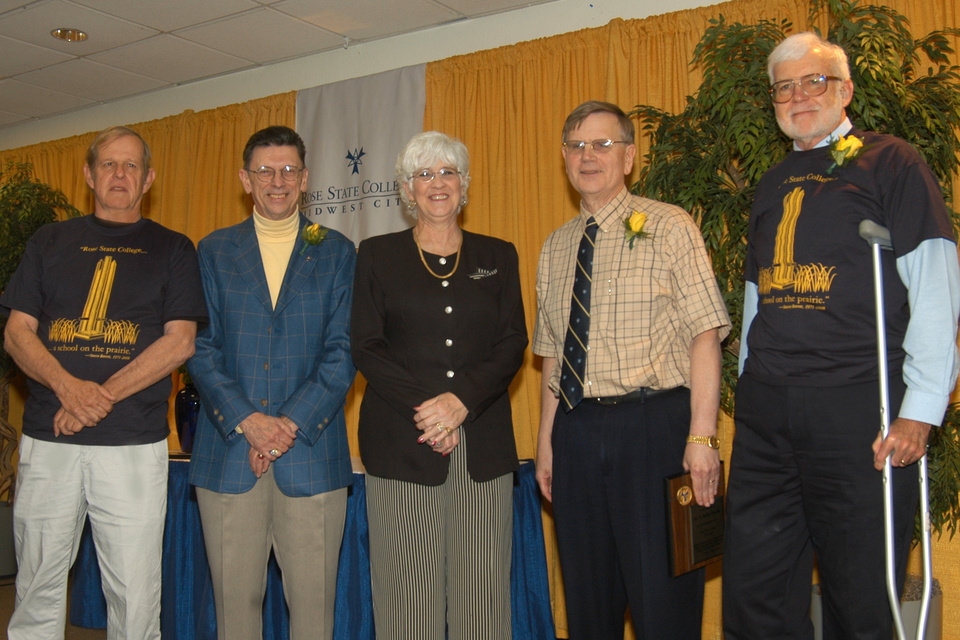 From left to right are Rose State College's honored retiree's Steve Reeves, Carl Sennhenn, Paula Wickersham, Dr. Baillie Dunlap, and Robert Leveridege.<br/><b>Community Photo By:</b> Pam Fordenbacher<br/><b>Submitted By:</b> Donna, Choctaw