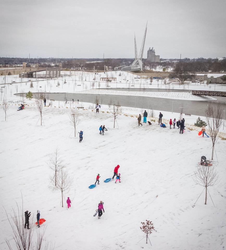 Photo - Drone shot at Scissortail Park on a snow day. Image by Dave Morris.