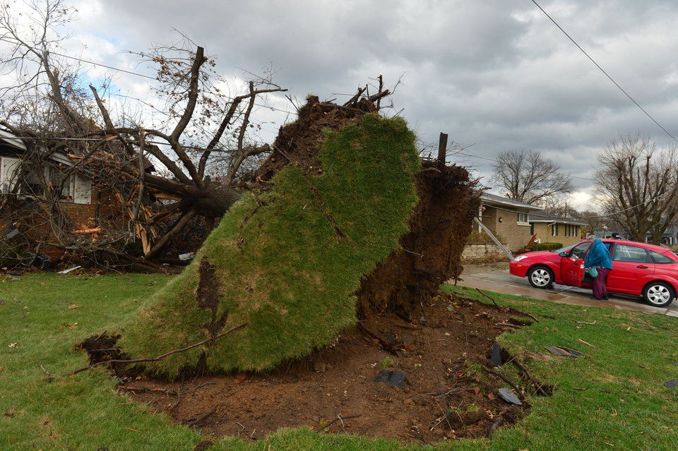 Photo - A tree was pulled out of the ground by the roots, collapsing onto a house after a tornado left a path of devastation through the north end of Pekin, Il.,Sunday, Nov. 17, 2013. Intense thunderstorms and tornadoes swept across the Midwest on Sunday, causing extensive damage in several central Illinois communities while sending people to their basements for shelter. (AP Photo/Journal Star, Fred Zwicky) MANDATORY CREDIT