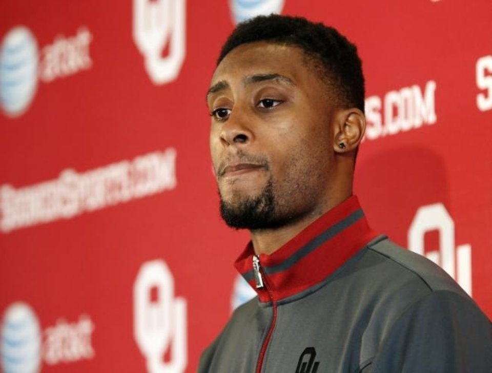 Photo -  Aaron Colvin speaks during a press conference in Norman on Dec. 16, 2013. [Nate Billings/The Oklahoman archives]
