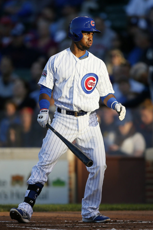 Photo - Chicago Cubs' Arismendy Alcantara reacts to striking out against the San Diego Padres during the first inning of a baseball game on Wednesday, July 23, 2014, in Chicago. (AP Photo/Andrew A. Nelles)