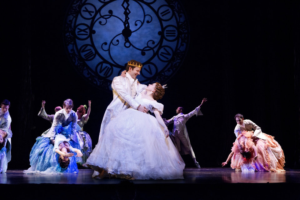 This theater image released by Sam Rudy Media Relations shows Carley Rae Jepsen as Cinderella, center right, dancing with Joe Carroll as the Prince, during a performance of