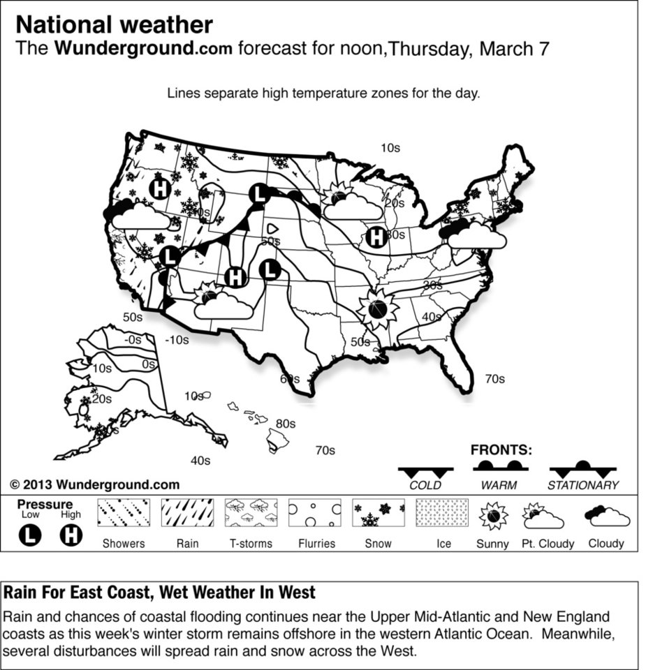 Photo - Rain and chances of coastal flooding continues near the Upper Mid-Atlantic and New England coasts as this week's winter storm remains offshore in the western Atlantic Ocean Thursday March 7, 2013.  Meanwhile, several disturbances will spread rain and snow across the West.   (AP Photo/Weather Underground