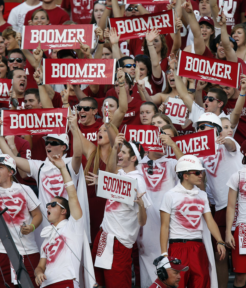 Photo - Sooner fans prepare for the game during the college football game between the University of Oklahoma Sooners (OU) and the Kansas State University Wildcats (KSU) at the Gaylord Family-Memorial Stadium on Saturday, Sept. 22, 2012, in Norman, Okla. Photo by Chris Landsberger, The Oklahoman