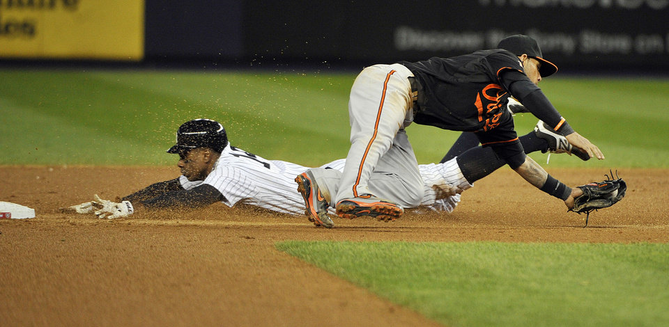 Photo -   New York Yankees' Curtis Granderson steals second base as Baltimore Orioles' Robert Andino (11) fields the wide throw during the fifth inning of Game 5 of the American League division baseball series Friday, Oct. 12, 2012, in New York. (AP Photo/Bill Kostroun)