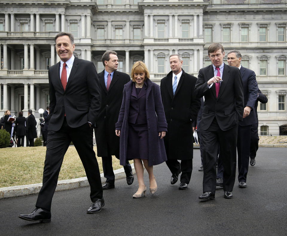Vermont Gov. Peter Shumlin, left, leads fellow Democratic Governors Associations members along the driveway of the West Wing of the White House in Washington, Friday, Feb. 22, 2013, following their meeting with President Barack Obama and Vice President Joe Biden. From left are, Shumlin, Montana Gov. Steve Bullock, Vermont Gov. Maggie Hassan, Maryland Gov. Martin O\'Malley, Colorado Gov. John Hickenlooper, and Washington Gov. Jay Inslee. (AP Photo/Pablo Martinez Monsivais)