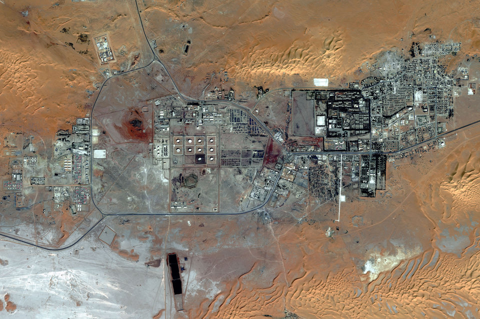 This Oct. 8, 2012 satellite image provided by DigitalGlobe shows the Amenas Gas Field in Algeria, which is jointly operated by BP and Norway\'s Statoil and Algeria\'s Sonatrach. Algerian special forces launched a rescue operation Thursday at the plant in the Sahara Desert and freed foreign hostages held by al-Qaida-linked militants, but estimates for the number of dead varied wildly from four to dozens. (AP Photo/DigitalGlobe)