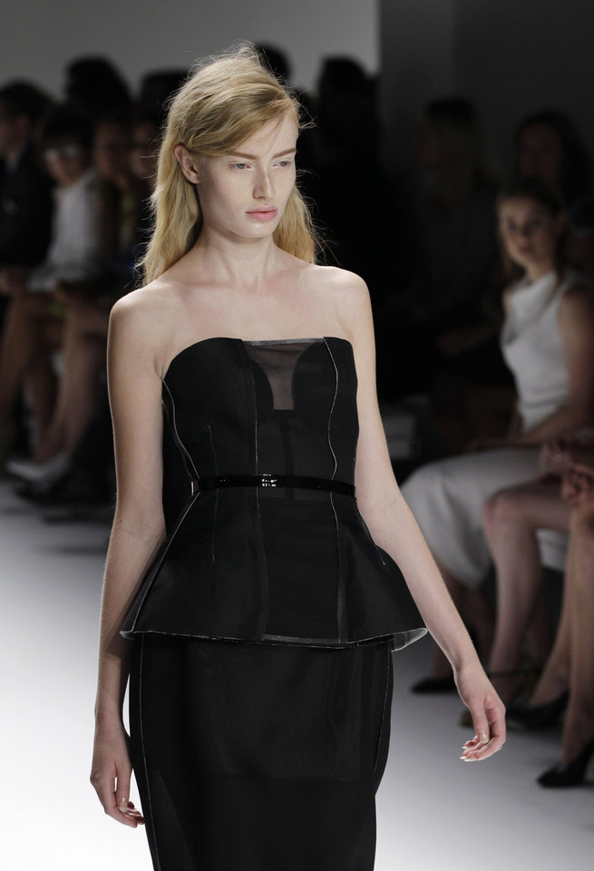 Photo -   A model wears a design from the Calvin Klein Spring 2013 collection at Fashion Week in New York, Thursday, Sept. 13, 2012. (AP Photo/Kathy Willens)