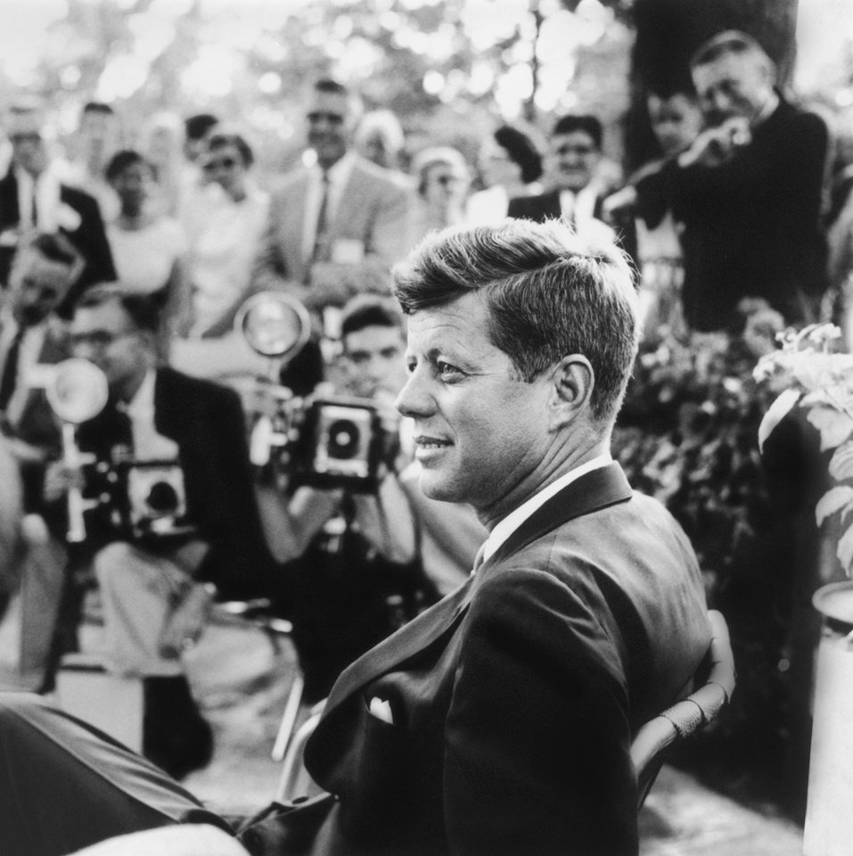 This handout photo provided by the Newseum, and the estate of Jacques Lowe, shows John F. Kennedy at a news conference in Omaha, Neb. in 1959. The Newseum in Washington, a museum devoted to journalism and the First Amendment, is marking the 50th anniversary of the assassination with a yearlong commemoration including two new exhibitions and a new film about Kennedy. (AP Photo/Newseum, estate of Jacques Lowe)