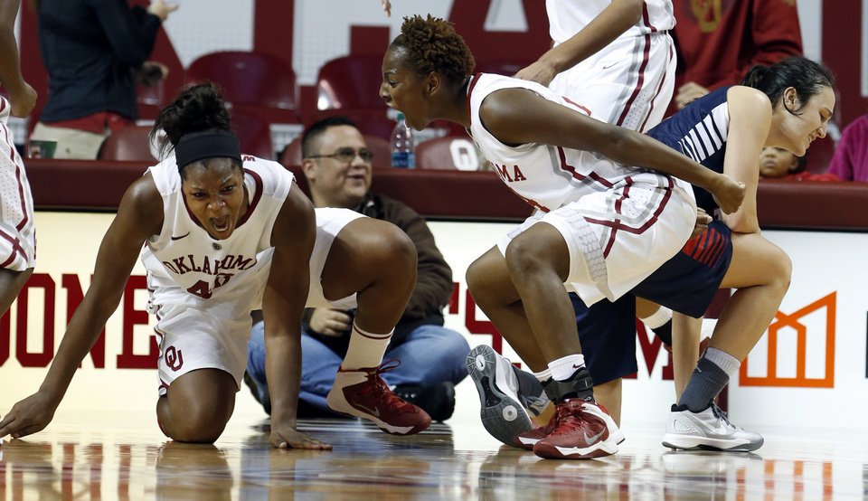 Photo - Oklahoma Sooner's Kaylon Williams (42) celebrates stopping a drive by Gonzaga's Lindsay Sherbert in the final minute by taking a charge as Sharane Campbell  joins in as the University of Oklahoma Sooners (OU) defeat the Gonzaga Bulldogs 82-78 in NCAA, women's college basketball at The Lloyd Noble Center on Thursday, Nov. 14, 2013  in Norman, Okla. Photo by Steve Sisney, The Oklahoman
