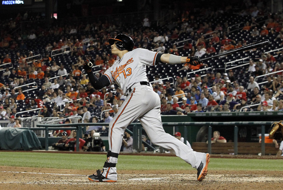 Photo - Baltimore Orioles' Manny Machado watches his two-run homer during the 11th inning of an interleague baseball game against the Washington Nationals at Nationals Park, Monday, July 7, 2014, in Washington. The Orioles won 8-2, in 11 innings. (AP Photo/Alex Brandon)