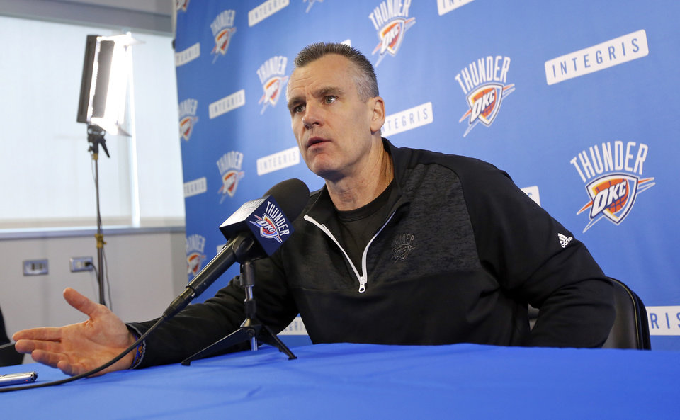 Photo - Coach Billy Donovan speaks with the media during exit interviews for the Oklahoma City Thunder at the Integris Thunder Development Center in Oklahoma City, Wednesday, April 26, 2017. Photo by Nate Billings, The Oklahoman